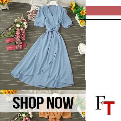 Fashon Trends and Style - dress - Knutsford - Puff-Sleeve Tie-Waist Midi Wrap Dress