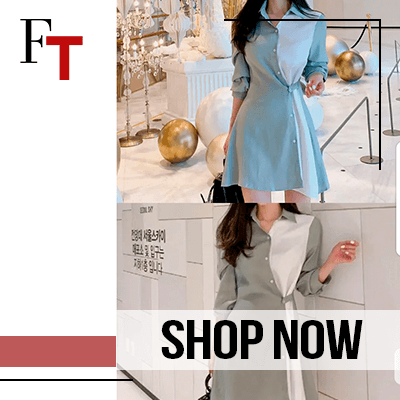 Fashon Trends and Style - dress - Long-Sleeve Color Block Mini Shirtdress