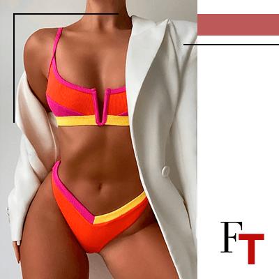 Fashion Trends and Style . Bikinis - Frutto - Set: Colorblock Bikini Top + Bottom