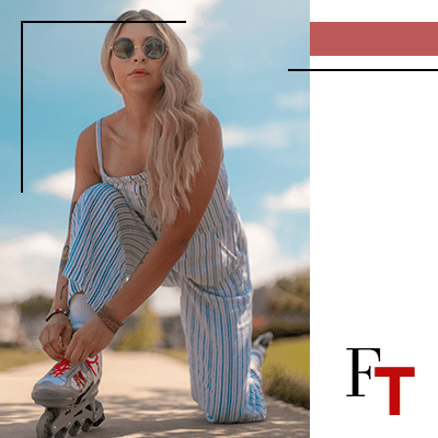 Fashion Trends - woman with vertical stripes