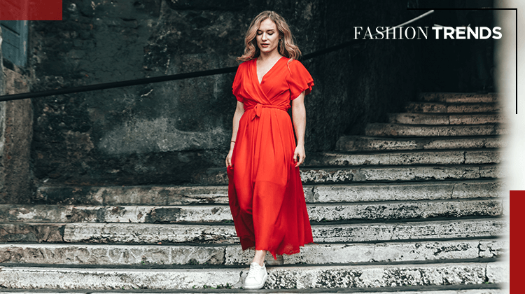 Fashion Trends and Style - sneakers with a long dress - Banner